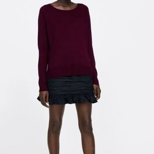 ZARA Burgundy Long Sleeve Knit Sweater